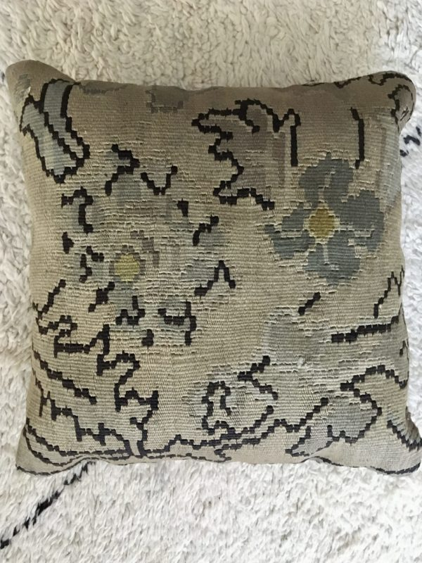 square wool kilim cushion with natural flowers pattern