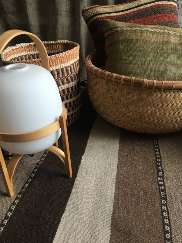 sisal basket #17 with the kilim cushion #3 and the Turkish kilim #4 in a Indonesian bamboo basket with a santacole lamp