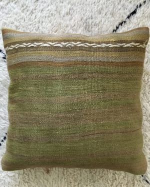 square wool kilim pillow with stripes green and light brown