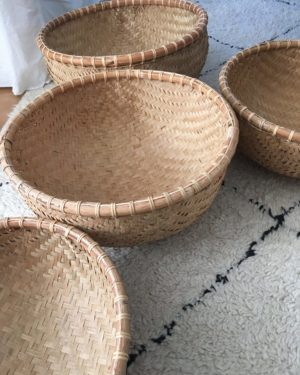 different sizes of Indonesian bamboo baskets