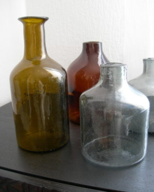 amber recycled glass handblown carafe from Lebanon