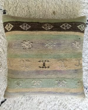 square wool kilim cushion with green, brown and beige stripes and design