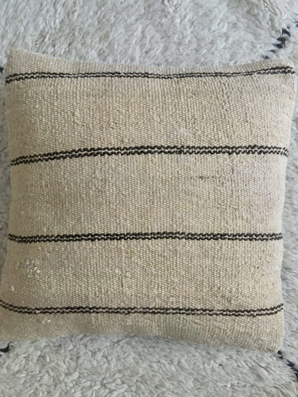 square wool kilim cushion #2 cover beige with thin and double honrizontal stripes dark brown