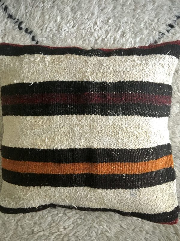 square beige wool kilim #8 pillow in wool with burgundy, orange and black large stripes