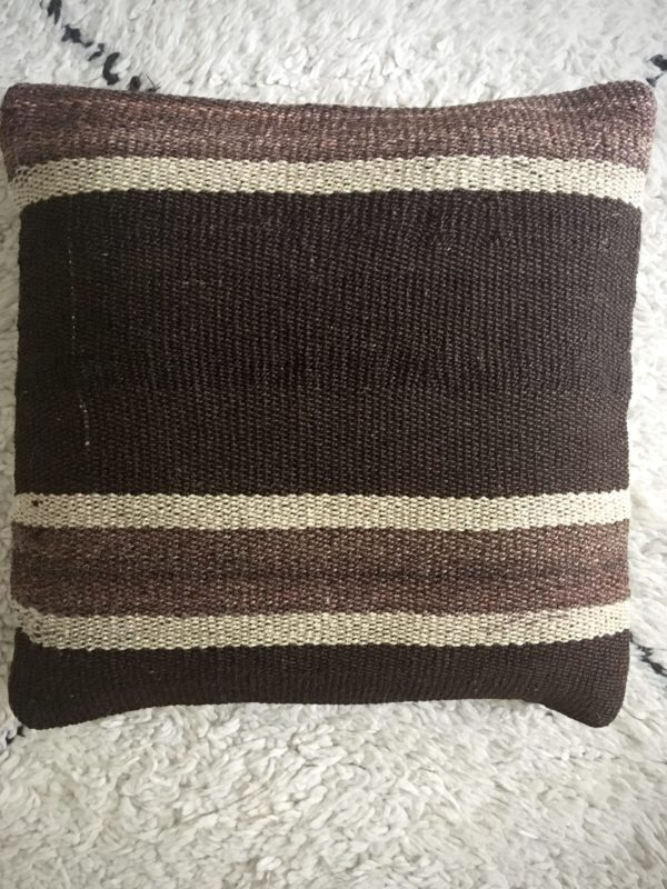 square dark brown wool kilim #10 pillow with beige stripes