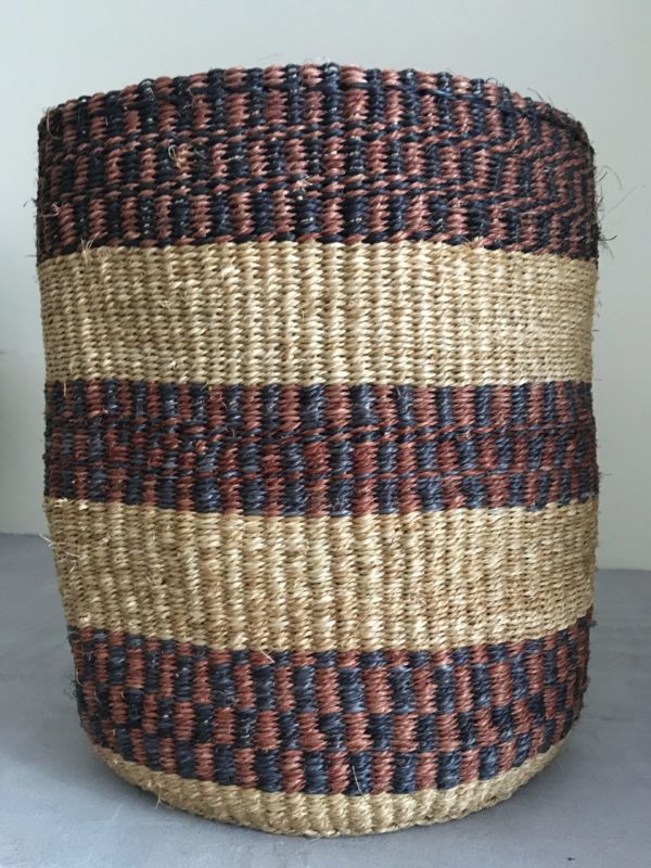 sisal basket #14 from Kenya with brown, natural and black large stripes