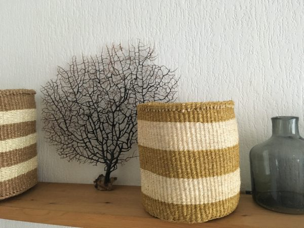 sisal baskets #1 and #6 with a grey handblown glass pot