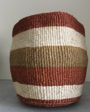 sisal basket #18 from Kenya with large stripes beige, white and brown