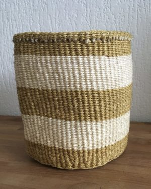 small sisal basket #6 with off-white and natural stripes from Kenya