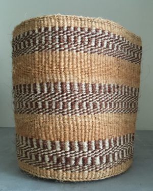sisal basket #17 from Kenya with large stripes in natural tones