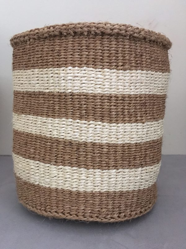sisal basket #1 with large white and beige stripes from Kenya