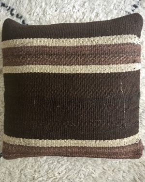 square brown wool kilim cushion cover with beige stripes
