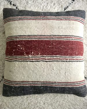 square wool kilim #1 pillow cover with large and thin stripes grey, red and off-white