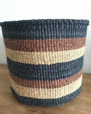 sisal basket #3 with black and brown stripes from Kenya