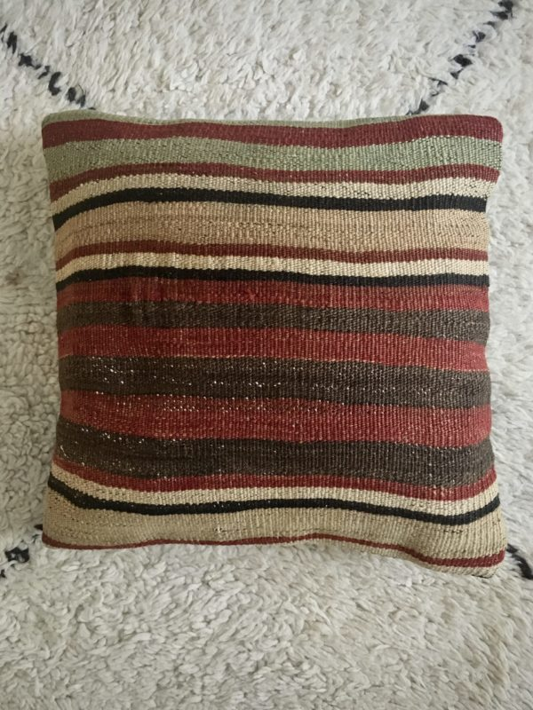square wool kilim cushion with horizontal stripes red, beige, green, brown