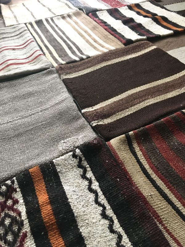 kilim cushion covers in natural and beige tones without stuffing