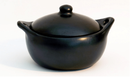 casserole/frying pan with lid ceramic black pottery