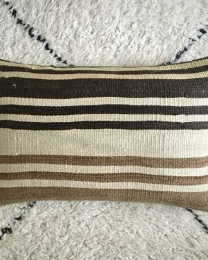 rectangular wool kilim #5 pillow cover with different sizes of stripes in dark and light natural tones