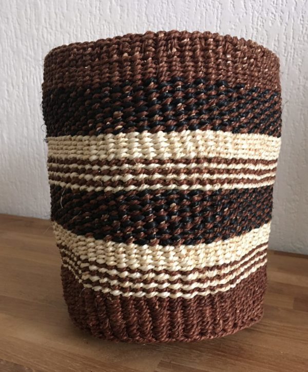 small sisal basket #7 in brown, black and white colors from Kenya