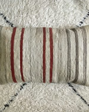 rectangular wool kilim pillow #4 with stripes red and beige tones