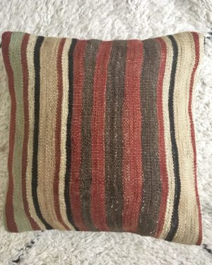 square wool kilim pillow #3 cover with vertical stripes red, green, brown and beige