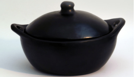 oval frying pan with lid ceramic black pottery