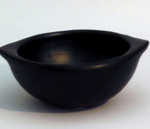 traditional soup bowl with grip ceramic black pottery