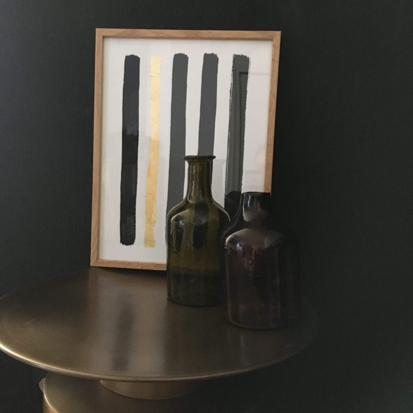 Frame and amber carafes